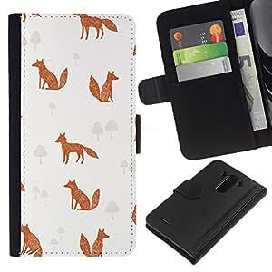 WINCASE Cuadro Funda Voltear Cuero Ranura Tarjetas TPU Carcasas Protectora Cover Case Para LG G3 - zorro setas niños minimalistas naranja