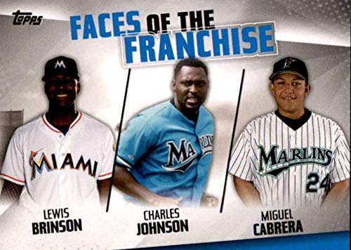 2019 Topps Series 2 Faces of the Franchise #FOF-15 Charles Johnson/Miguel Cabrera/Lewis Brinson Miami Marlins Official MLB Baseball Trading Card (Best Franchises For 2019)