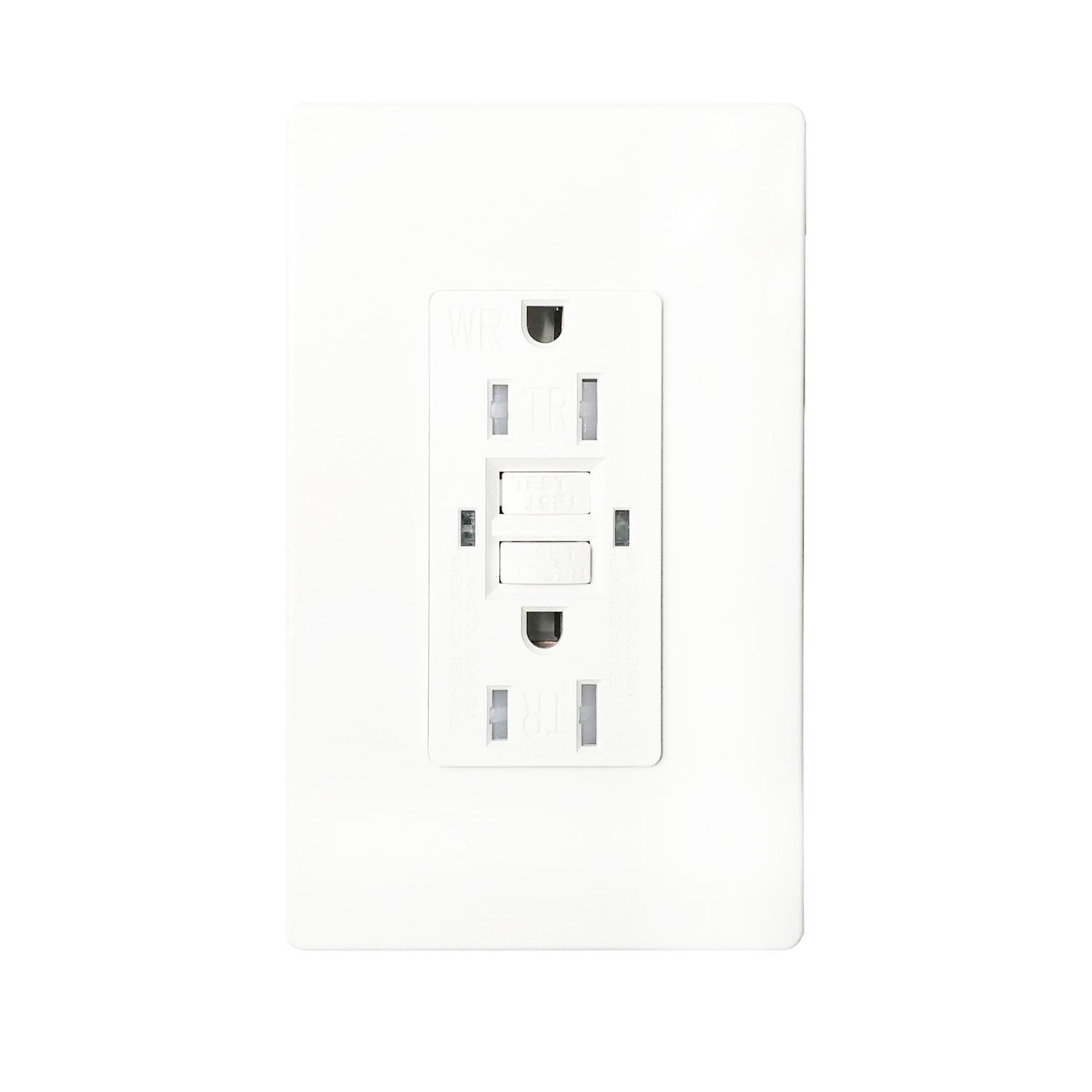 GFCI 15A TR WR Wall Outlet - LASOCKETS 15 Amp 125 Volt Tamper Resistant Socket For Standard Wall Receptacle Outlet, Residential Grade, Grounding, with Wall Plates, UL Listed (1 Pack)