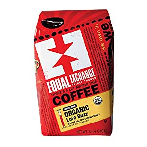 Equal Exchange Love Buzz Blend Organic Coffee Bean, 12-Ounce Package