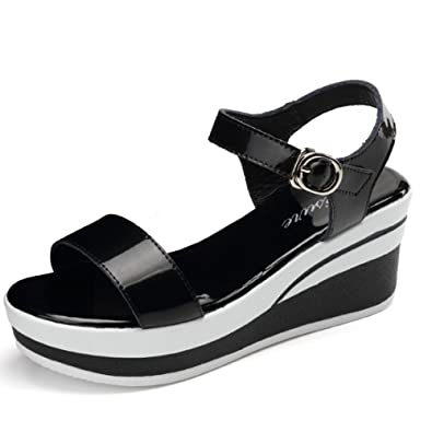08ebaf965 Slope with Sandals Female Students Summer Thick Bottom Slippers Patent Shoes  The Word with a Loose