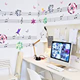 Zooarts Melody Music Note Birds Butterfly Mural Wall Sticker Decals for Kids Room Decor