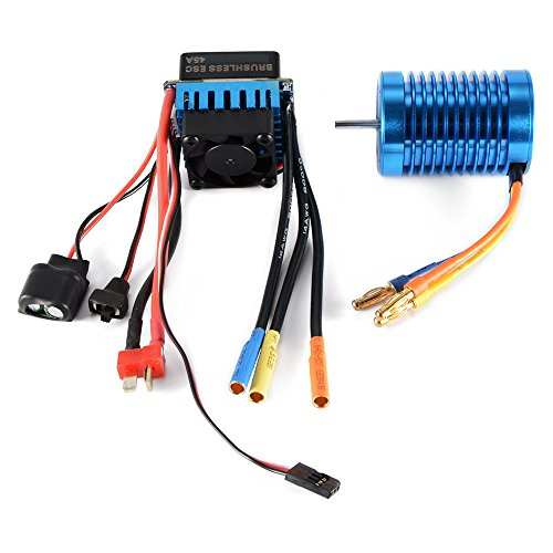 - XCSOURCE 3650-4370KV 4P Slot Sensorless Brushless Motor with 45A ESC Electric Speed Controller for 1/10 RC Off-road Car RC505