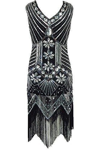 Damen Trägerlos Kleider Pailletten-Kleid Art Deco Perlen Franse Flapper  V-Ausschnitt Kleid Partykleider 998588ecff