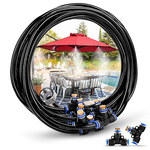 - HOMENOTE Misting Cooling System 26.2FT (8M) Misting Line + 9 Brass Mist Nozzles + a Brass Adapter(3/4) Outdoor Mister for Patio Garden Greenhouse Trampoline for waterpark