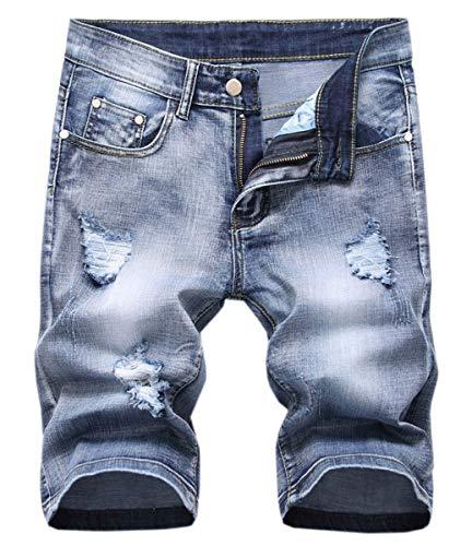 - Men's Denim Shorts,Distressed Ripped Broken Hole Short Jeans Denim Shorts for Men, 2# Light Blue, US 32 = Tag 32