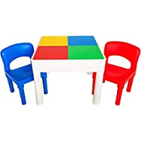 PlayBuild Kids 4 in 1 Play & Build Table Set- Kids Table and Chairs Sets for Indoor Activity, Outdoor Water Play, Toy…