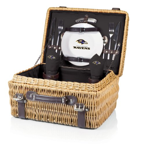 NFL Baltimore Ravens Champion Picnic Basket with Deluxe Service for Two, Black