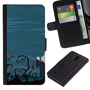 Ihec-Tech / Flip PU Cuero Cover Case para Samsung Galaxy Note 4 SM-N910 - Funny Zombie Tech