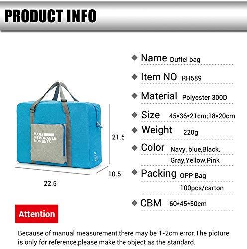 Wandf Foldable Travel Duffel Bag Luggage Sports Gym Water Resistant Nylon Pink