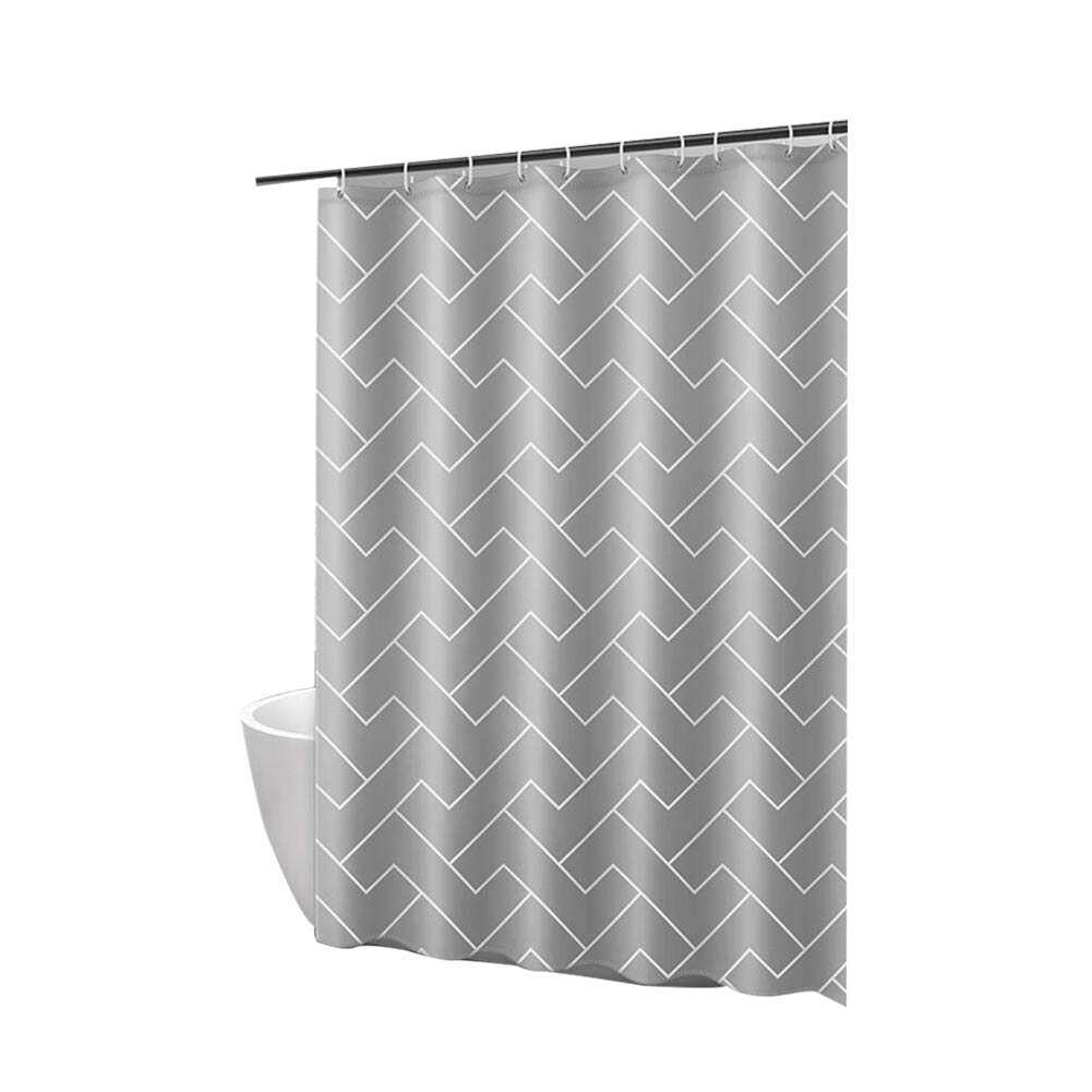 WZLJW Shower Curtain with Weighted Hem, Mildew Resistant Anti-Bacterial Water-Repellent Shower Curtain Liner Non Toxic Eco-Friendly No Chemical Odor-Gray 120x180cm(47x71inch)