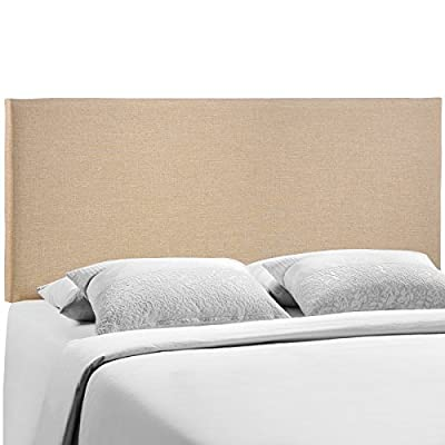 Modway Region Queen Upholstered Linen Headboard in Green