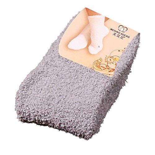 YJYdada Home Women Girls Soft Bed Floor Socks Fluffy Warm Winter Pure Color (Gray) - Nordic Kids Boots