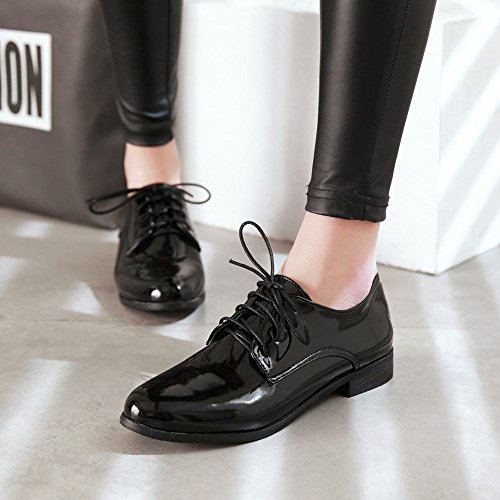 Latasa Mujeres Lace Up Low Heel Oxford Zapatos Black