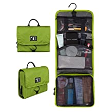 BAGSMART Compact Travel Toiletry Bags Hanging Bathroom Bag Portable Toiletry Kit Clear Cosmetic Makeup Bag Case Organizer-Green