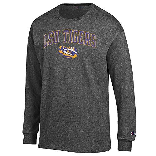 Elite Fan Shop LSU Tigers Long Sleeve Tshirt Varsity Charcoal - M (Lsu Long Sleeve Shirts)
