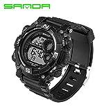 Delight eShop SANDA Waterproof Date Week Silicone Digital Analog Alarm Mens Sport Wrist Watch (Black)