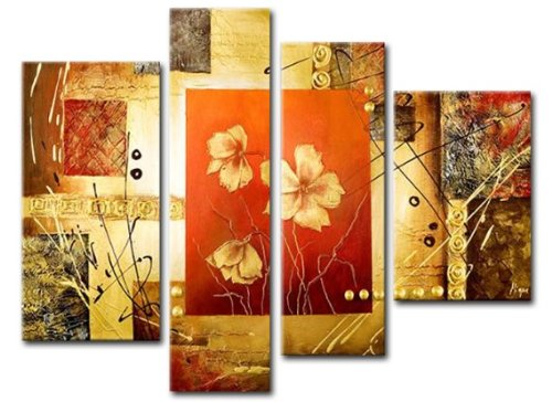 Sangu 100% Hand Painted Wood Framed Modern Summer Flowers Paintings For Living Room Modern Oil Paintings Gift on Canvas 4-piece Art Wall Decor