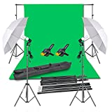 Photo : Emart Photography Backdrop Continuous Umbrella Studio Lighting Kit, Muslin Chromakey Green Screen and Background Stand Support System for Photo Video Shoot