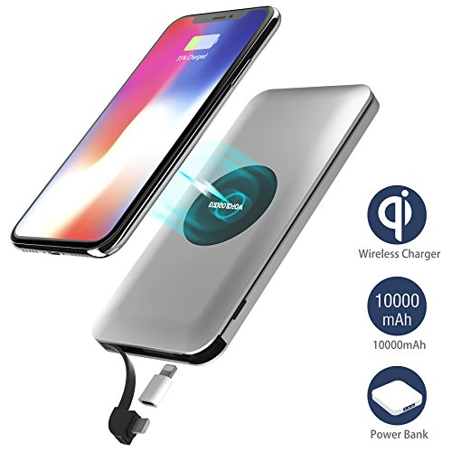 Wireless Charger Power Bank, Qi Wireless Charging 10000mAh External Battery Pack with Built in Micro Cable and Lightning Adapter for iPhone X,iPhone 8/8+,Samsung Galaxy Note 8/ S8,HTC, LG and other Qi-enabled Devices
