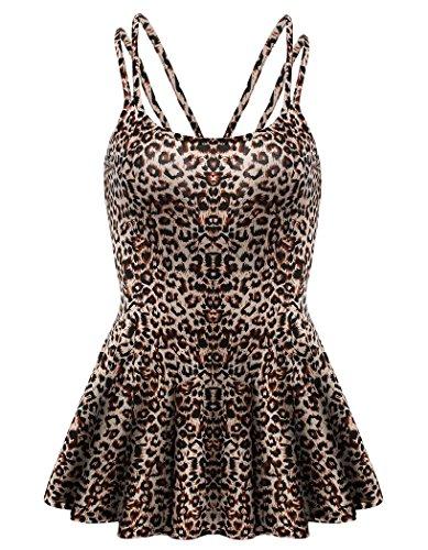 Leopard Print Spaghetti (Locryz Womens Sexy Leopard Print Cami Tank Top (XXL, Leopard))