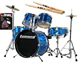 Ludwig Junior Blue Drum Set Bundle with Vic Firth American Classic 5A Drumsticks and FastTrack Drum Method (Book 1)