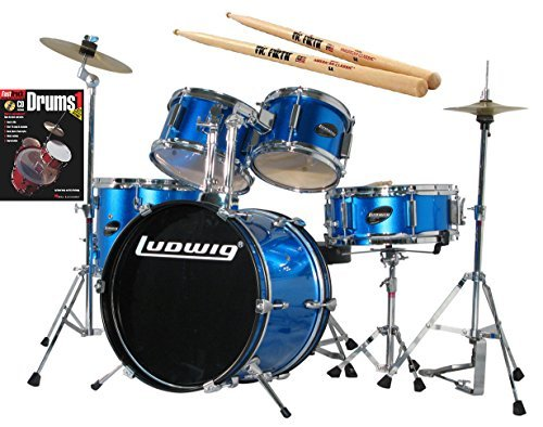 ludwig-junior-blue-drum-set-bundle-with-vic-firth-american-classic-5a-drumsticks-and-fasttrack-drum-
