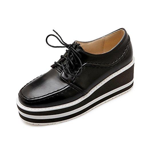 BalaMasa Girls Thread Color Matching Thick Bottom Heel Bandage Imitated Leather Pumps-Shoes Black mAWveT2u