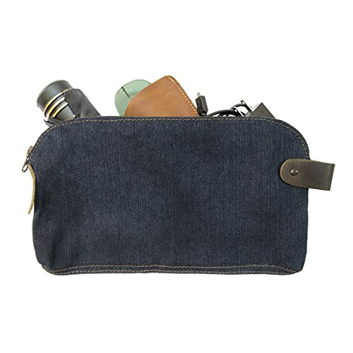 Monogram Denim (Repurposed Denim Large All Purpose Dopp Kit Utility Bag With Durable Plaid Lining (Cords, Chargers, Tools, School / Office Supplies) Handmade by Hide & Drink)