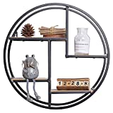 cheerfullus Round Wood Hanging Wall Shelf Decorative Wall Mounted Iron Floating Shelf for Home Office Decoration