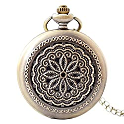 GLMPQ Antique Pocket Watch with Chain Classic Vintage Steel Men Pocket Watch with 12.6'' Chain for Birthday Anniversary Day Easy to Read time (Color : Bronze, Size : Free Size)