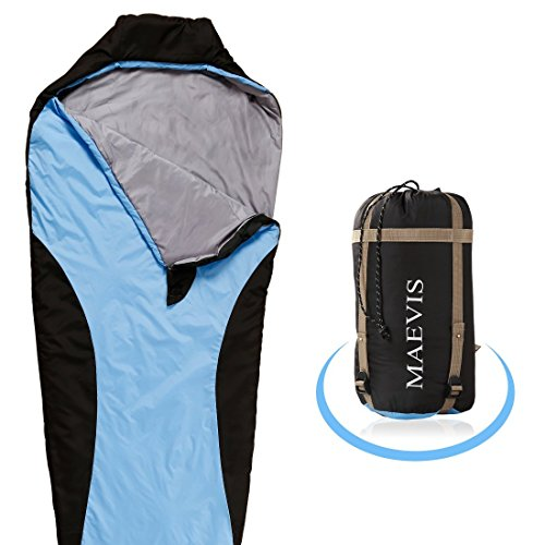 Maevis all Season 330GSM Sleeping Bag Envelope Mummy Lightweight Portable Waterproof with Compresshion Bag - Fit for Camping Hiking Traveling & Outdoor (Sky Blue, Mummy)