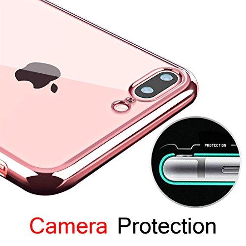 iPhone 7 Plus Custodia, KKtick iPhone 7 Plus Case Cover Sottile Silicone Galvanica TPU, Anti Slip, Antigraffio, Antiurto Bumper pelle protettiva per iPhone 7 Plus (Rose Gold)