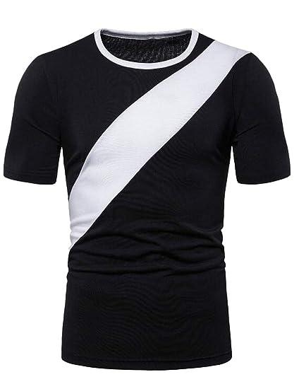 d1cae2f085 KLJR Men Slim Fit Short Sleeve Plus Size Casual Active Color Blocked  T-Shirt Tee