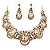BriLove Costume Fashion Jewelry Set for Women Crystal Teardrop Hollow Scroll Statement Necklace Dangle Earrings Set Champagne Gold-Toned