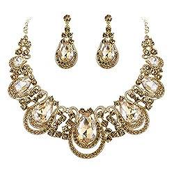 Crystal Teardrop Hollow Necklace Dangle Earrings Set