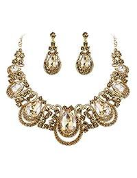 BriLove Costume Fashion Jewelry Set for Women Crystal Teardrop Hollow Scroll Statement Necklace Dangle Earrings Set