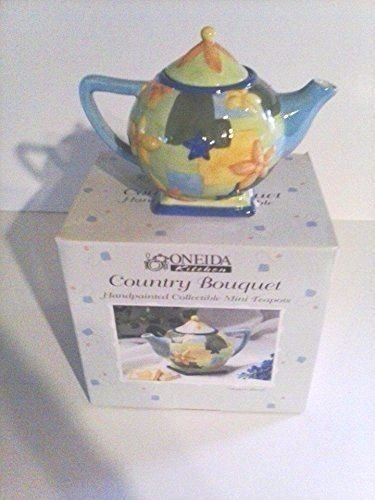 Oneida Kitchen Country Bouquet Miniature China Teapot-