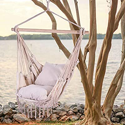 Dasuy Hammock Swing Chair Hanging Rope Chair Outdoor Indoor Hammock Net Chair for Kids Baby Adult, Camping Chair with Two Cushions (White, 39.4x51.2 Inch): Industrial & Scientific