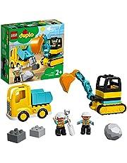LEGO 10931 DUPLO Bouw Vrachtwagen en Graafmachine met Rupsbanden en Poppetje, Constructiespeelgoed voor Peuters van 2 Jaar