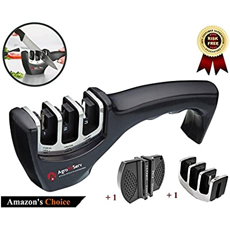 AgroRifServ Knife Sharpener With 3 Stage Diamond Tungsten Ceramic Sharpener To Repair Restore And Polish Blades And Scissors Includes An Extra Head And Bonus Pocket Knife Sharpener