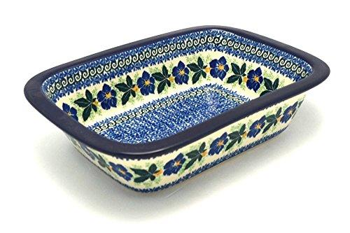 (Polish Pottery Baker - Rectangular with Grip Lip - Blue)