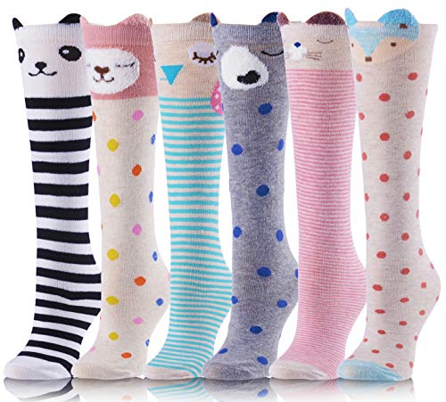 Girls Knee High Socks Cute Animal Pattern Soft Novelty Cotton Socks For Kid Child 6 Pack(6 Pairs Set A)