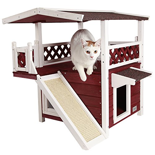"Petsfit 2-Story Outdoor Weatherproof Cat House/Condo/Shelter Scratching Pad 30""x22""x29"""