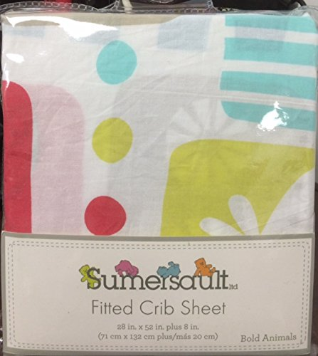 (2 for $9.99 Fitted Crib Sheet Bold Animals 100% Cotton in Lovely Colors by Sumersault)