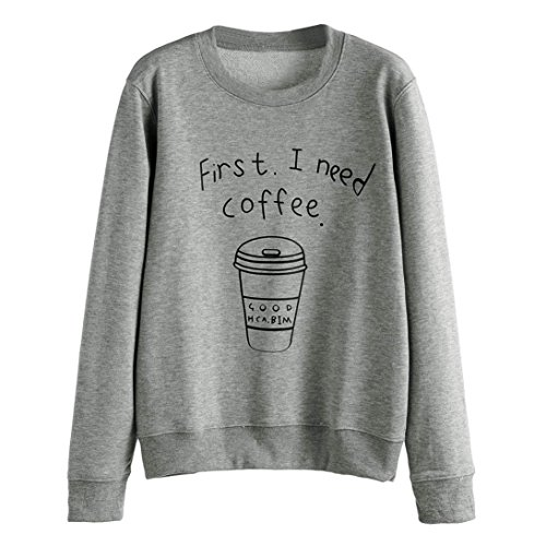 Winhurn Fashion Design First I Need Coffee Long Sleeve Women Sweatshirt T shirt Top (S, Gray)