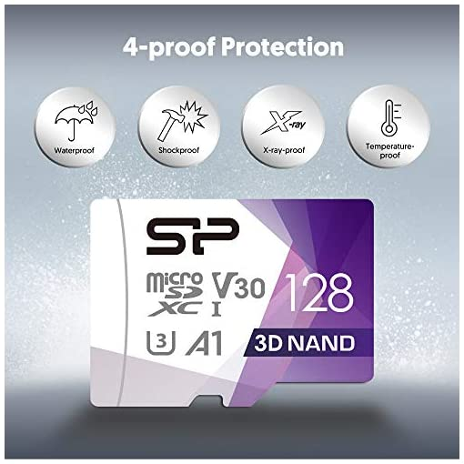 High Speed MicroSD Card with Adapter Silicon Power 64GB R//W up to 100// 80MB//s Superior Pro Micro SDXC UHS-I U3 V30 4K A1