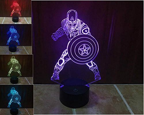 SUPERNIUDB Marvel Civil War Captain Soldier 3D Night Light LED USB 7 Color Change LED Table Lamp Xmas Toy Gift (Desk Lamp Marvel)