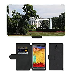 Hot Style Cell Phone Card Slot PU Leather Wallet Case // M00171642 White House Washington // Samsung Galaxy Note 3 III N9000 N9002 N9005