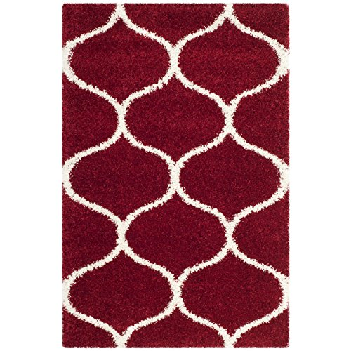 Safavieh Hudson Shag Collection SGH280R Red and Ivory Moroccan Ogee Plush Area Rug (3' x - Carpet Red Shag